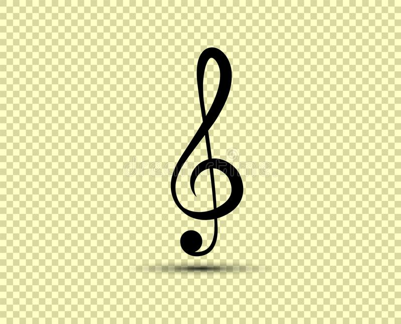 Musical vector treble clef, icon, silhouette. The object is isolated on a transparent light background. Eps vector illustration