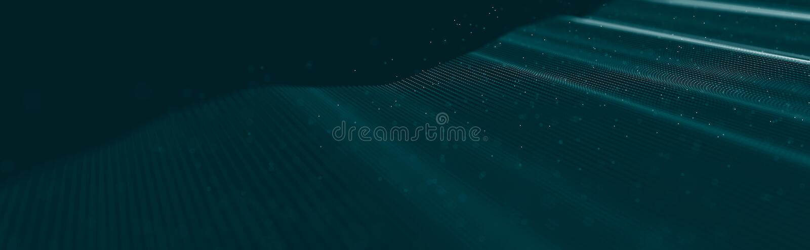 Musical wave of particles. Sound structural connections. Abstract background with a wave of luminous particles. Wave 3d stock photography