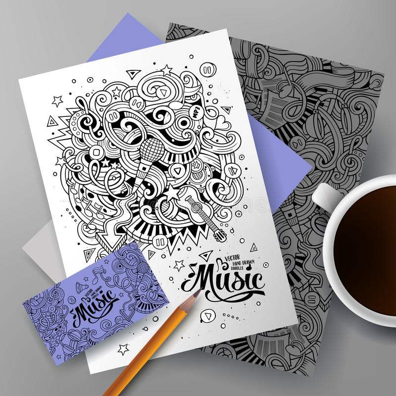 Musicalidentität Gekritzel der Karikatur von Hand gezeichnete vektor abbildung