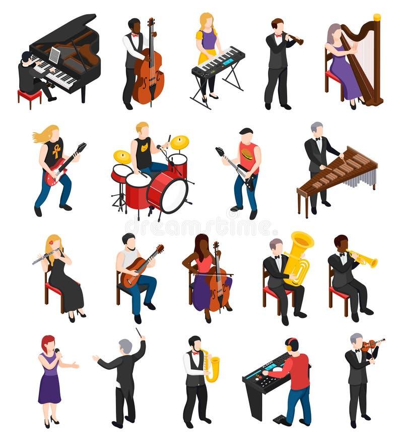Musici Isometrische Mensen royalty-vrije illustratie
