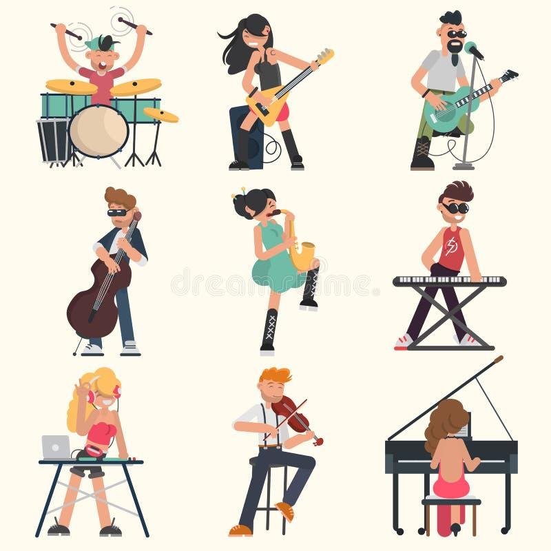 Musici met hun muzikale geplaatste instrumenten Kleuren vectorillustraties vector illustratie