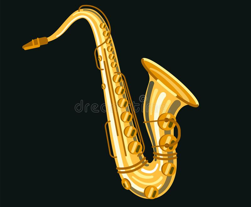 Musicial instrument Saxophone stock illustration