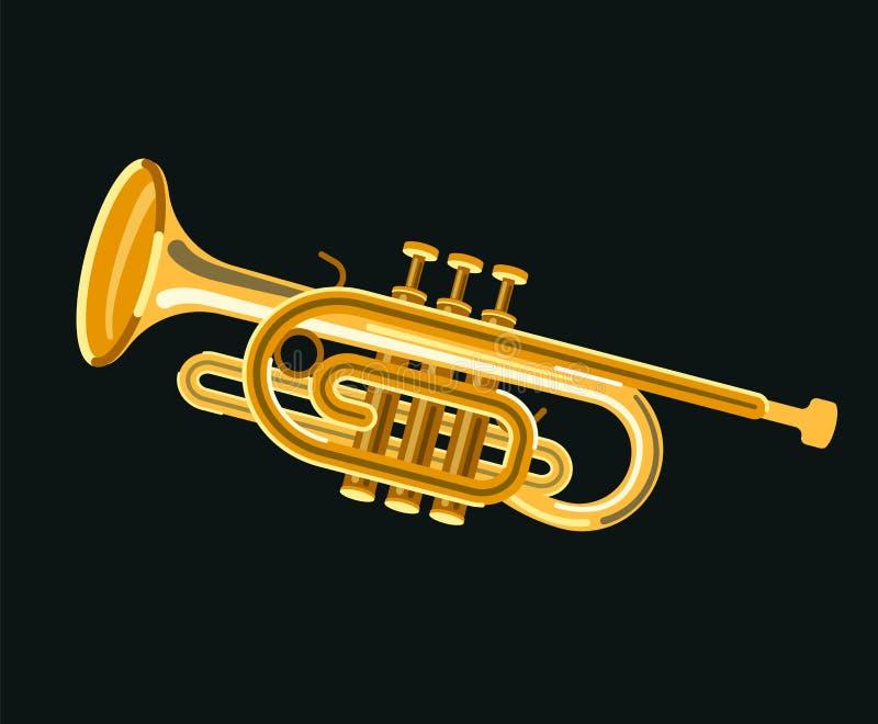 Musicial instrumentkornett med ilsken blick royaltyfri illustrationer