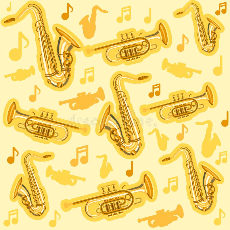 Musicial instruments saxophone and cornet pattern vector illustration