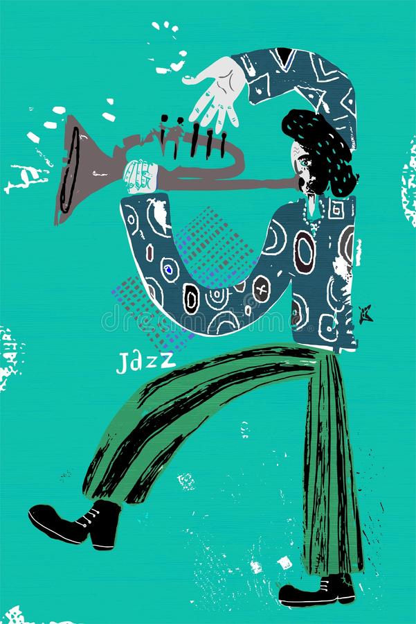 Musician. The image of a jazz musician who plays the trumpet stock illustration