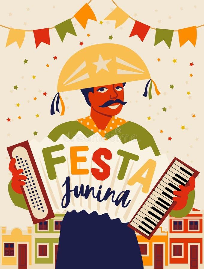Musician with an accordion. Brazilian holiday Festa Junina. June party. Vector illustration. Musician with an accordion. Brazilian holiday Festa Junina. June royalty free illustration