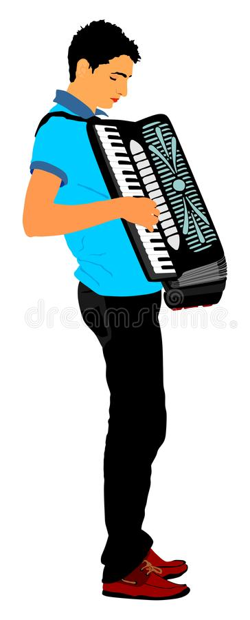 Musician accordion man . Musician accordion man Illustration isolated on white background. Music event on the public vector illustration