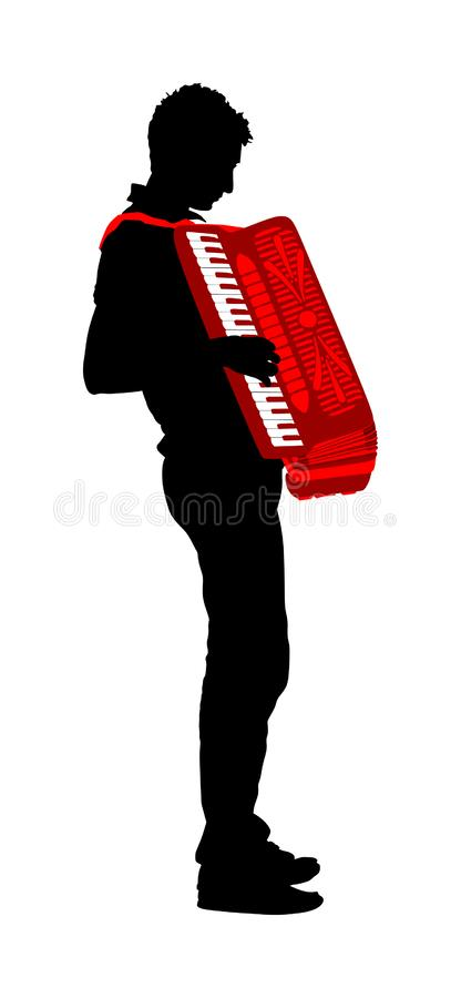 Musician accordion man vector silhouette Illustration isolated on white background. Music event on the public. Street performer amusement public. Music artist royalty free illustration