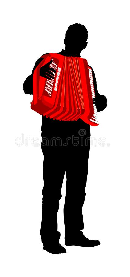 Musician accordion man vector silhouette isolated on white background. Music event on the public. Street performer. Musician accordion man vector silhouette vector illustration