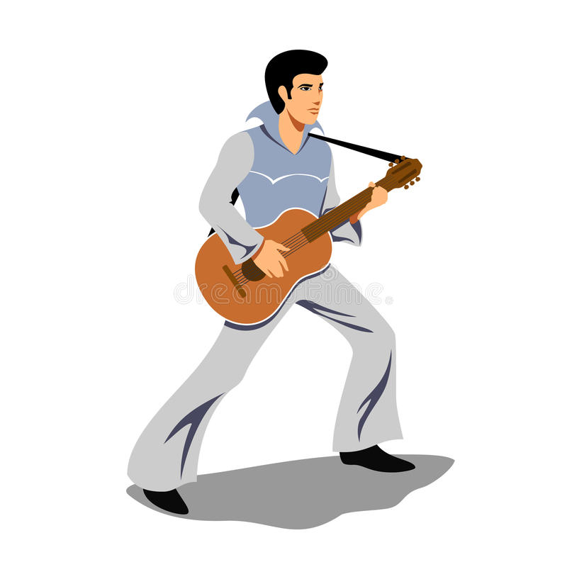 Musician artist like Elvis Presley with a guitar. Artist and instrument, rock and sound, musical string, guitarist concert, performer and entertainment. Vector stock illustration