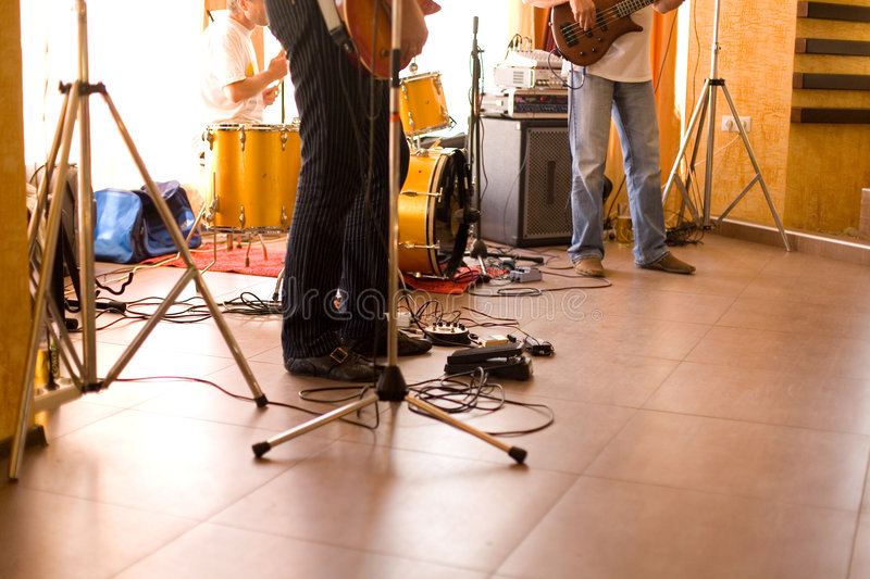 Musician band equipment #2. View only on legs, tripods and equipment stock image