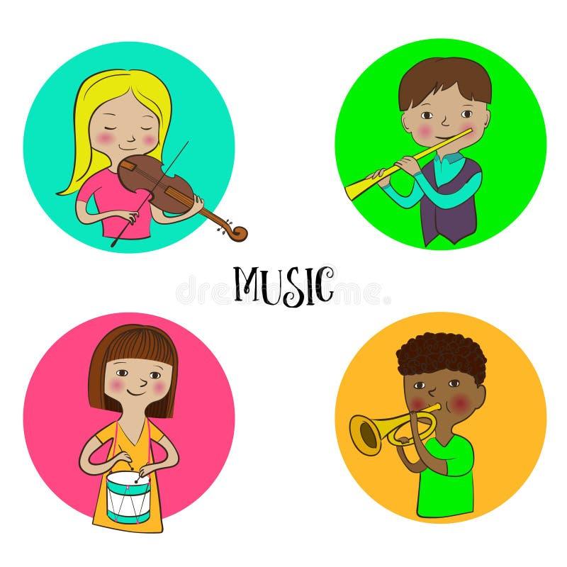 Musician children set of round icons. Violinist girl, flutist boy drummer and trumpeter kids. Musician children icons set. Funny cute kids with musical stock illustration