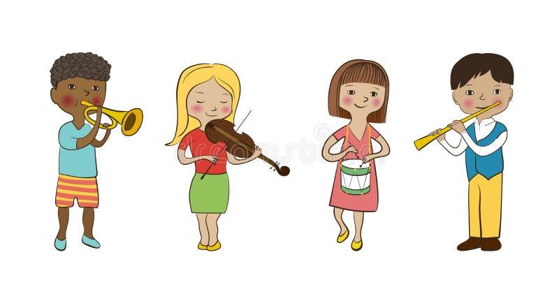 Musician children set. Violinist girl, flutist boy drummer and trumpeter kids. Musician children set. Flat sketch, doodle style vector. Funny cute kids with stock illustration