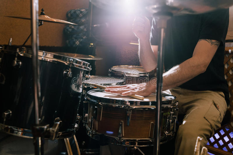 professional drum set closeup drummer playing music on live concert