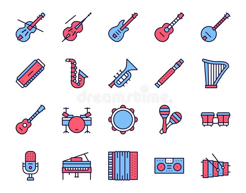 Musician equipment colorful linear icons set. Classic, rock, jazz and country music thin line contour symbols. Stringed, wind and percussion instruments stock illustration