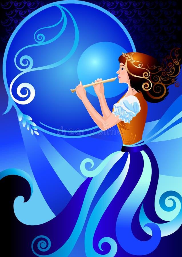 Musician flutist Girl playing the flute fife. Musician flutist. Girl playing the flute, fife. The character enchantress, fairy. Vector illustration of fairy vector illustration