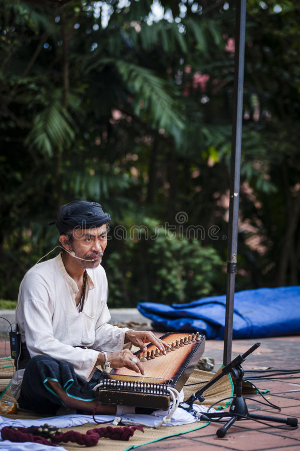 Musician at historical site royalty free stock photography
