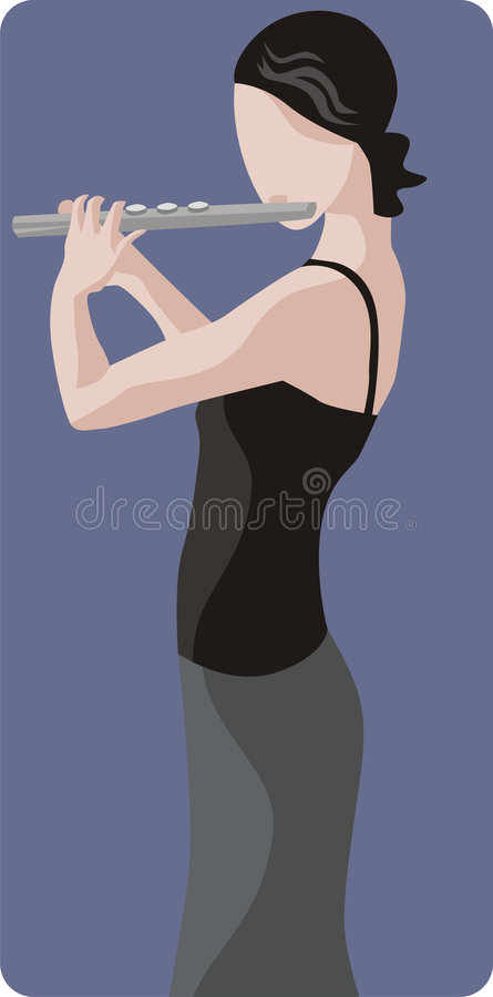 Musician illustration series. Vector illustration of a female flute player. EPS file available stock illustration