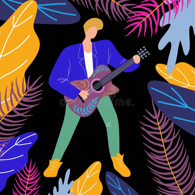 Musician man playing guitar, bright flat doodle illustration with guitarist and musical instrument stock illustration