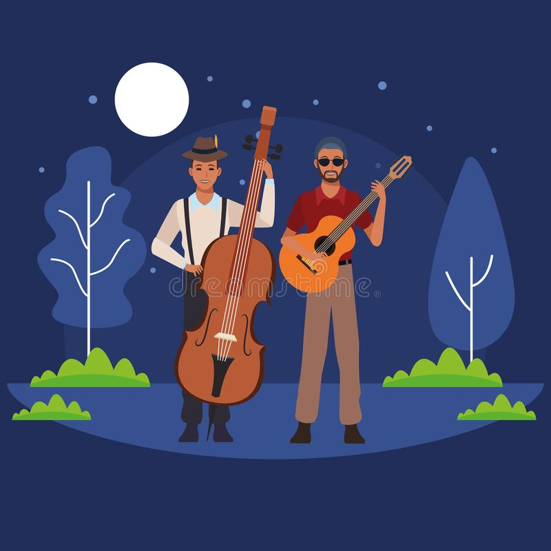 Musician playing bass and guitar vector illustration