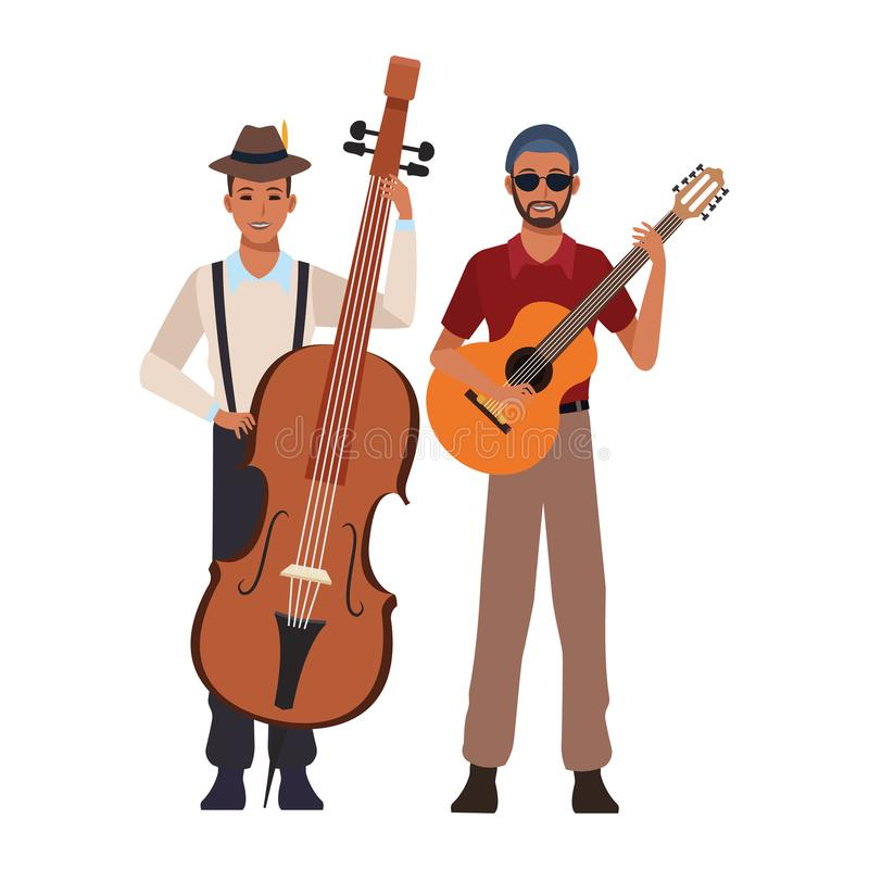 Musician playing bass and guitar stock illustration
