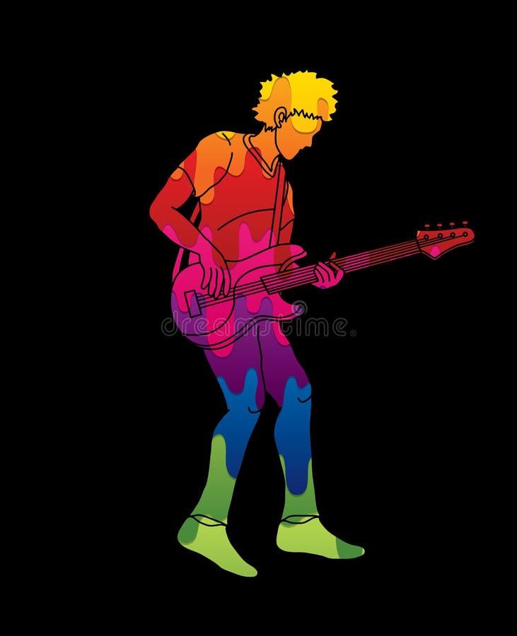 Musician playing bass, Music band royalty free illustration