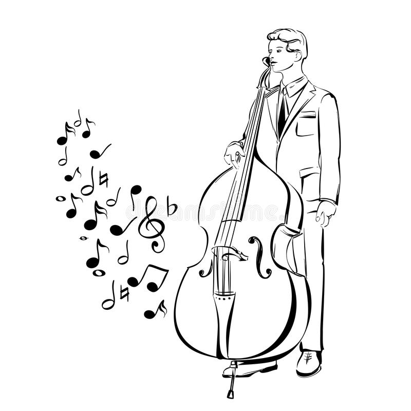 Musician playing contra bass vector illustration stock illustration
