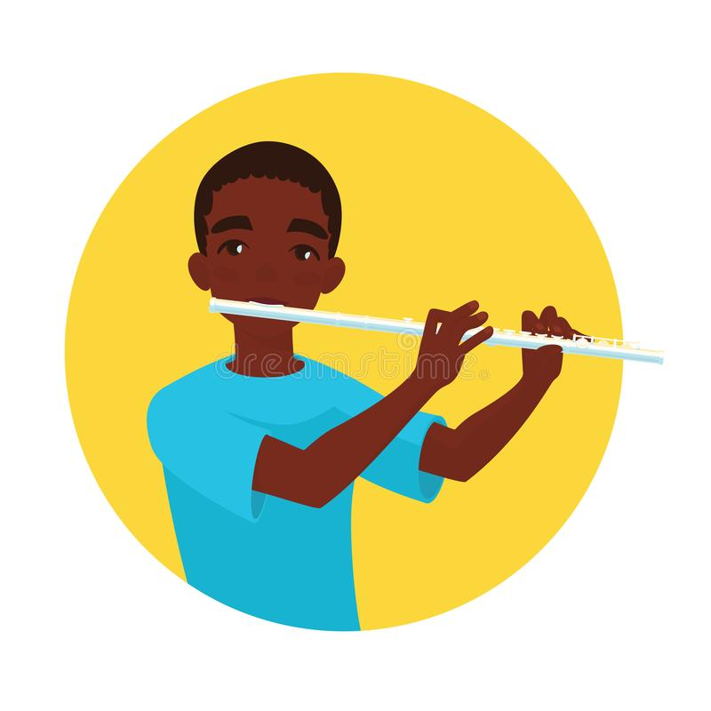 Musician playing flute. Boy flutist is inspired to play a classical musical instrument. Vector. Musician playing flute. Boy flutist is inspired to play a royalty free illustration