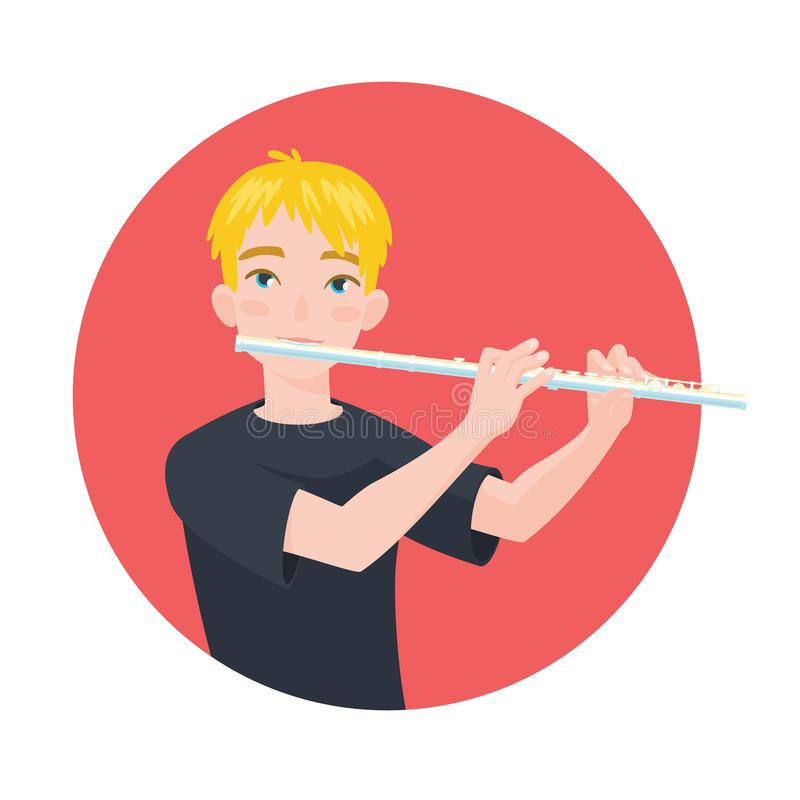 Musician playing flute. Boy flutist is inspired to play a classical musical instrument. Vector. Musician playing flute. Boy flutist is inspired to play a vector illustration