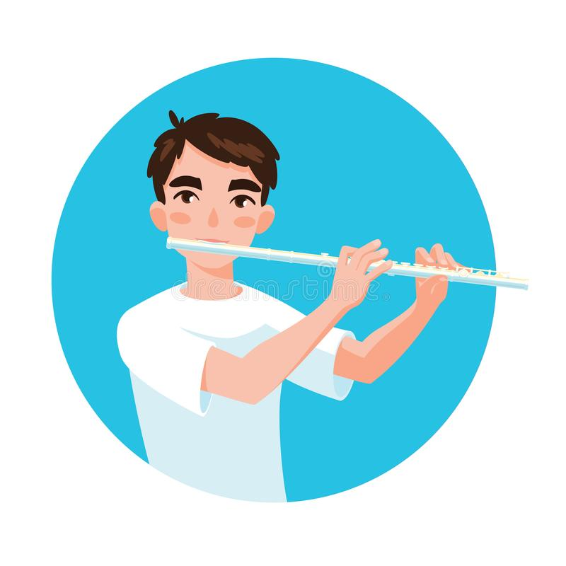 Musician playing flute. Girl flutist is inspired to play a classical musical instrument. Vector. Musician playing flute. Boy flutist is inspired to play a vector illustration