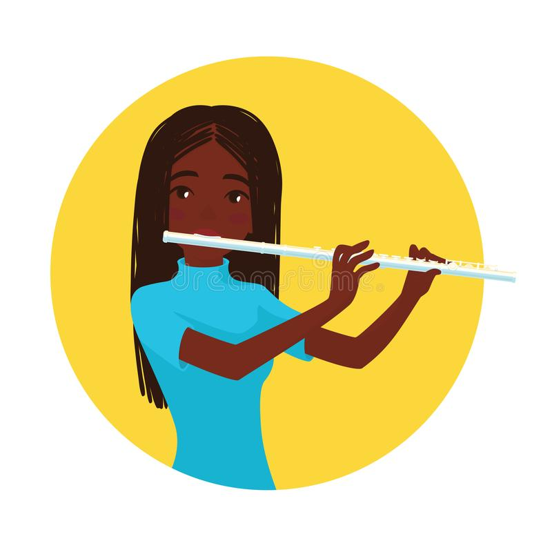 Musician playing flute. Girl flutist is inspired to play a classical musical instrument. Vector. Musician playing flute. Girl flutist is inspired to play a royalty free illustration