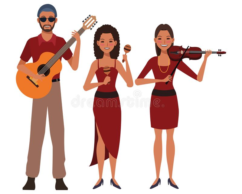 Musician playing guitar violin and maracas royalty free illustration