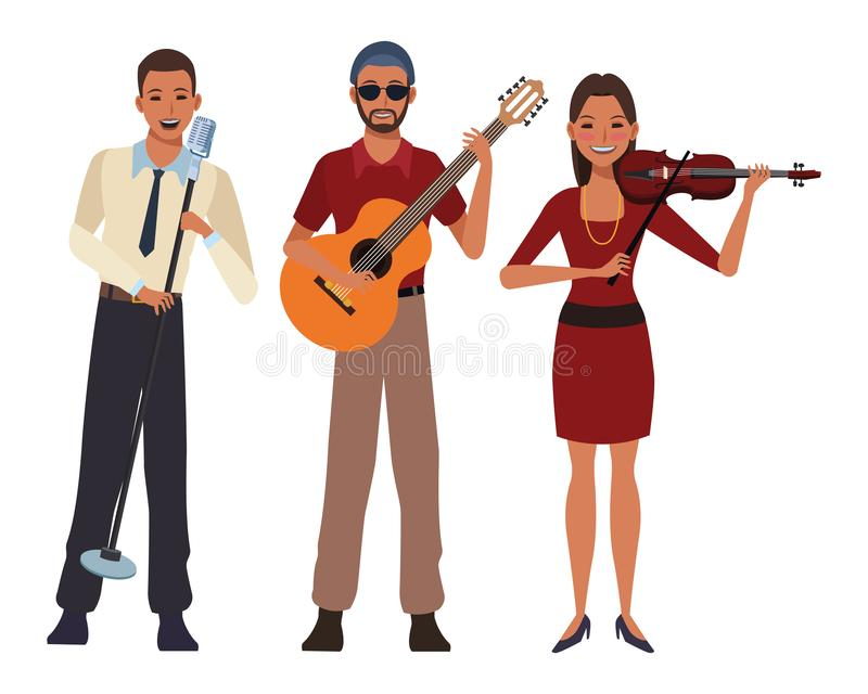 Musician playing guitar violin and singing stock illustration