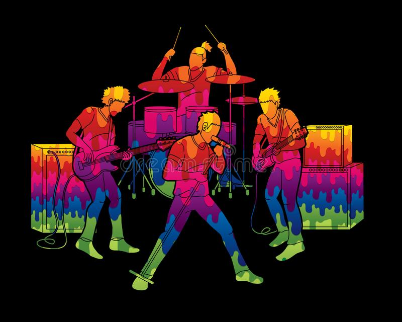 Musician playing music together, Music band vector illustration