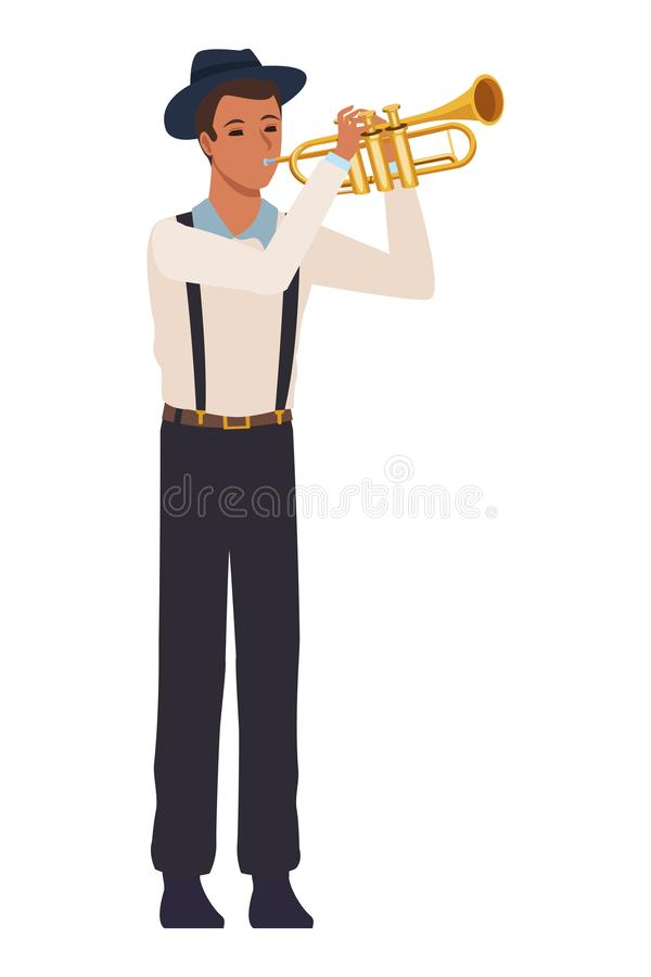 Musician playing trumpet stock illustration