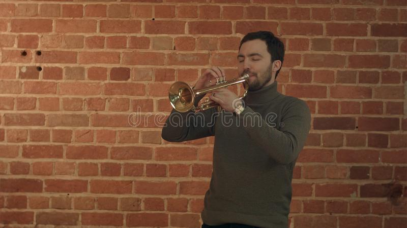 Musician playing the trumpet royalty free stock photos