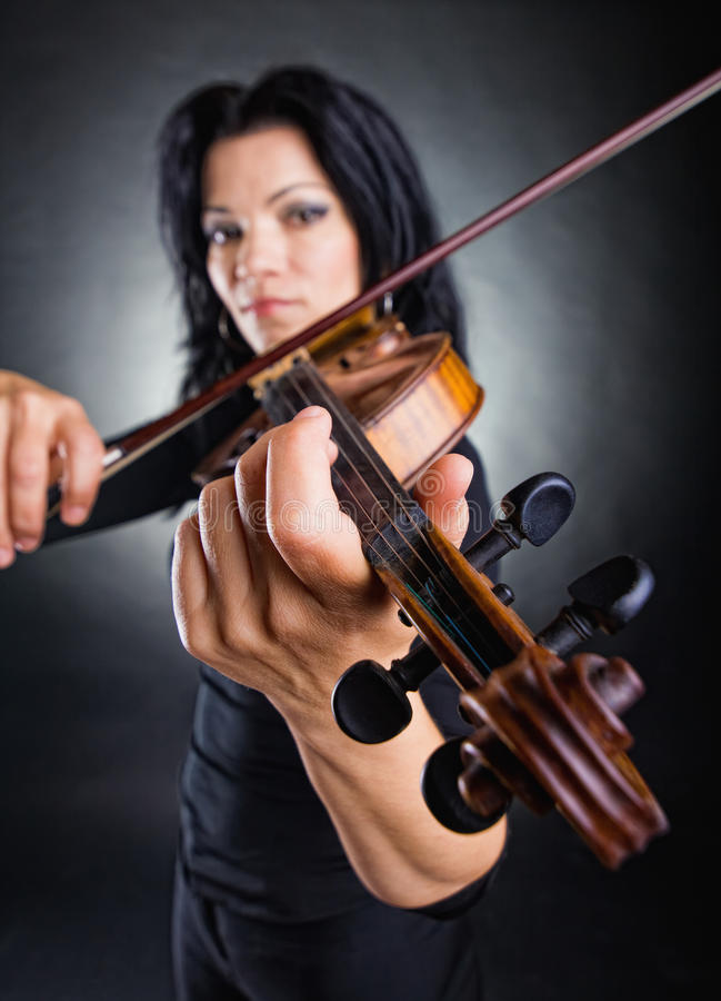 Musician playing violin stock photography