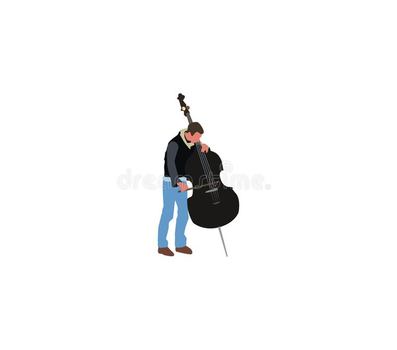 Musician plays double-bass royalty free stock image