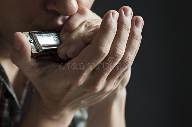 Musician plays the harmonica royalty free stock image