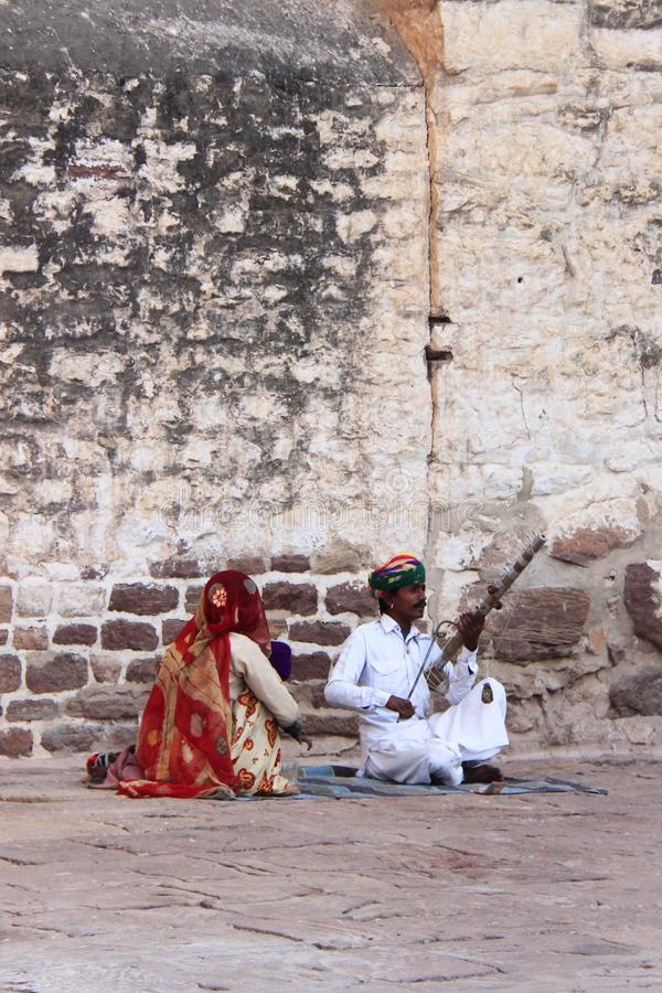 Musician in Rajastan, India, 2012, January, 4th royalty free stock photography