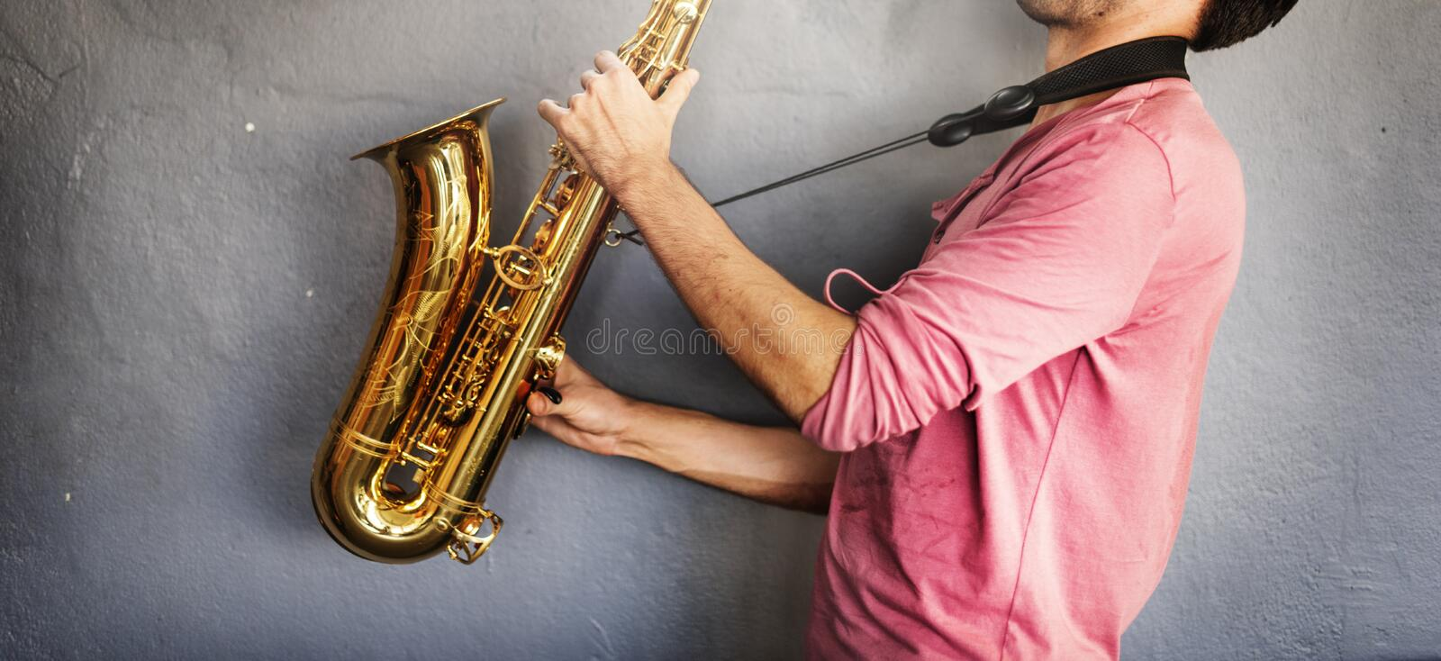 Musician Saxophone Jazz Artist Passion Concept stock images