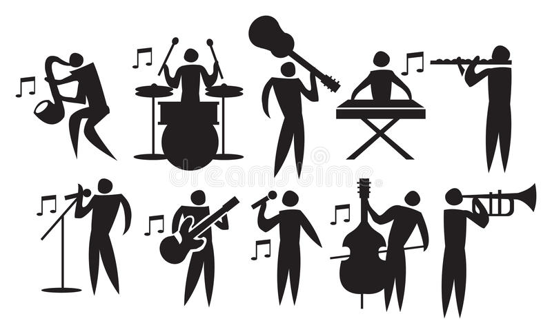 Musician Vector Icon Set. Vector illustration of icon man playing different musical instruments royalty free illustration
