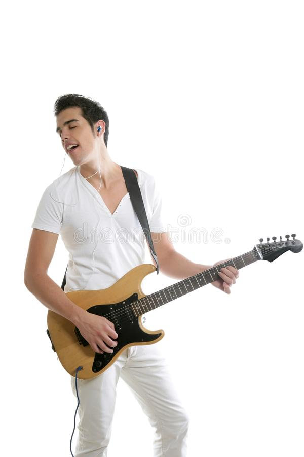 Download Musician Young Man Playing Electric Guitar Stock Image - Image of playing, concert: 10273083