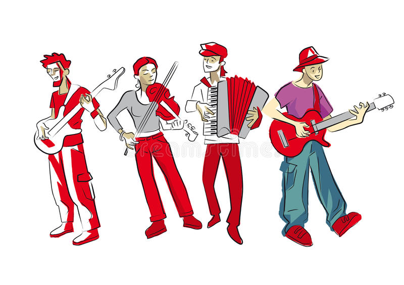 Musicians. Four musicians playing violin, accordion, guitar and bass vector illustration