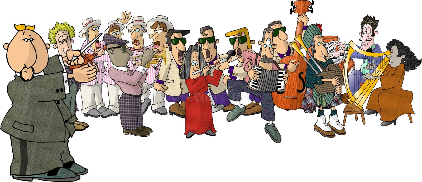 Download Musicians stock illustration. Image of trumpet, piano, bagpipe - 47888