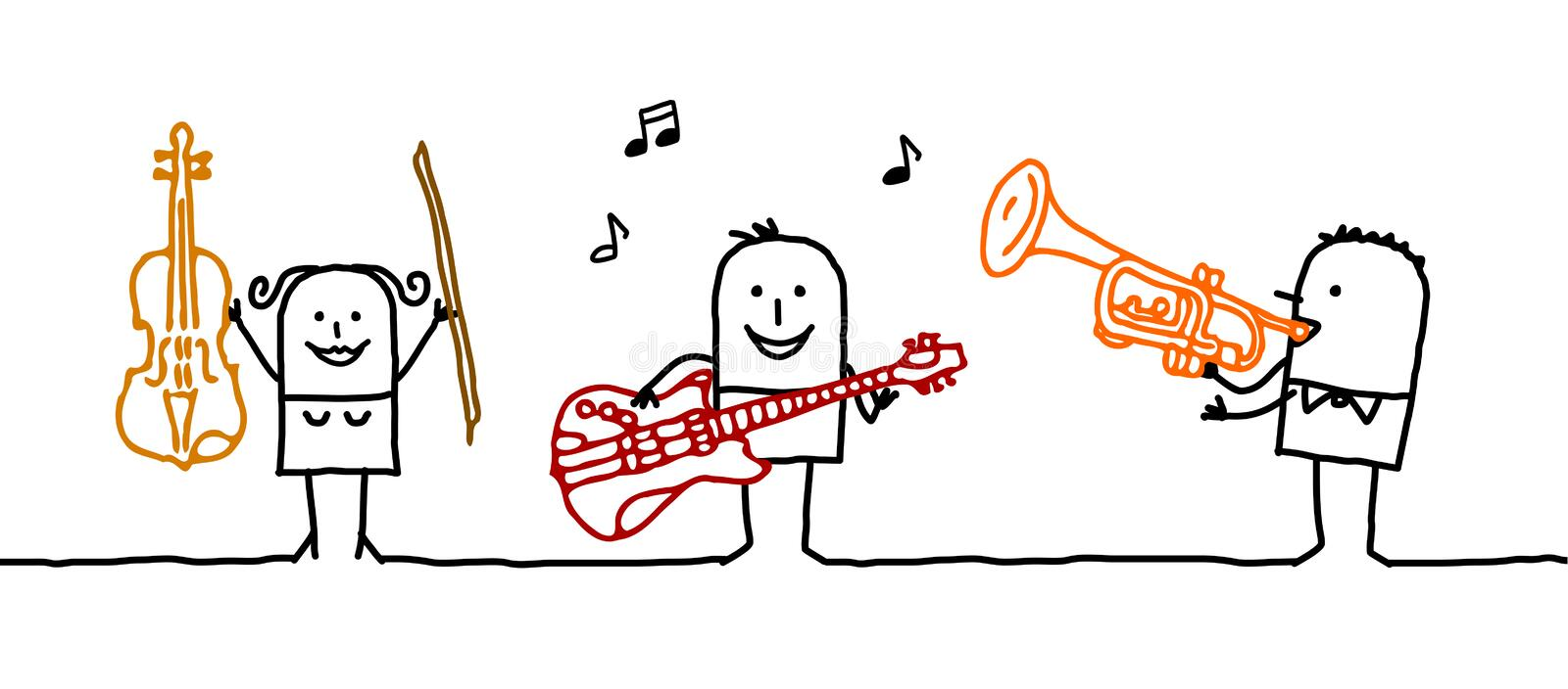 Musicians. Vector hand-drawn characters on line