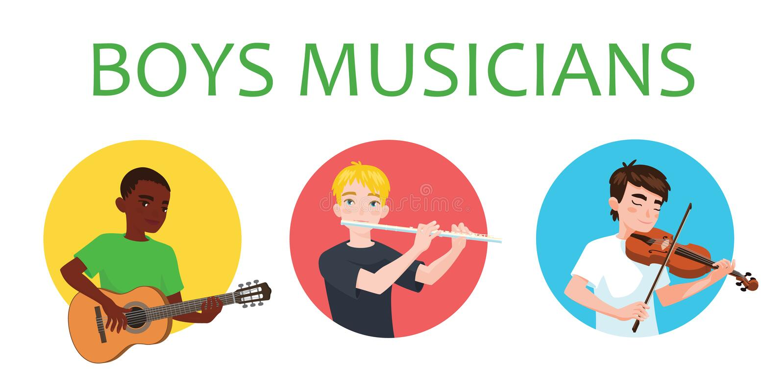 Musicians boys of different nations is inspired to play musical instruments. Violinist, flutist, guitarist. Vector. Illustration in flat cartoon style on white royalty free illustration