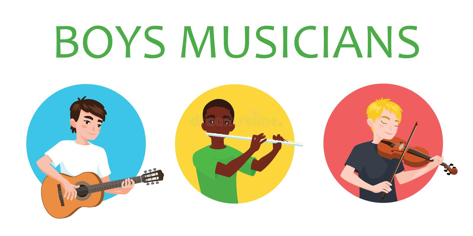 Musicians boys is inspired to play different musical instruments. Violinist, flutist, guitarist. Vector illustration in. Flat cartoon style in circle on white stock illustration