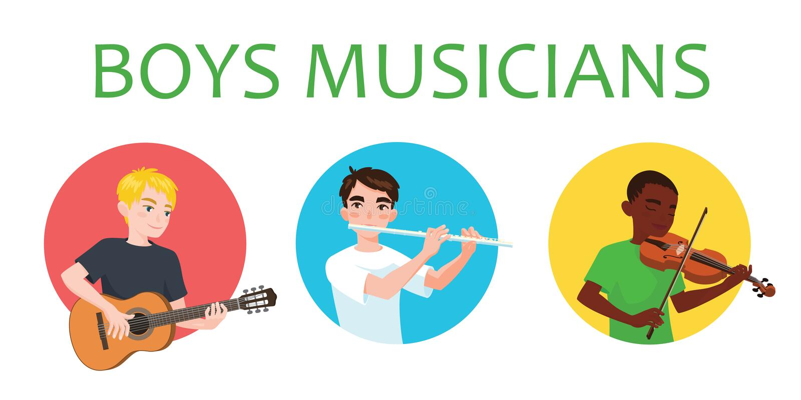 Musicians boys is inspired to play different musical instruments. Violinist, flutist, guitarist. Vector illustration in. Flat cartoon style on white background vector illustration