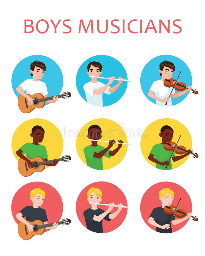 Musicians boys is inspired to play different musical instruments. Violinist, flutist, guitarist. Vector illustration in. Flat cartoon style in circle on white vector illustration
